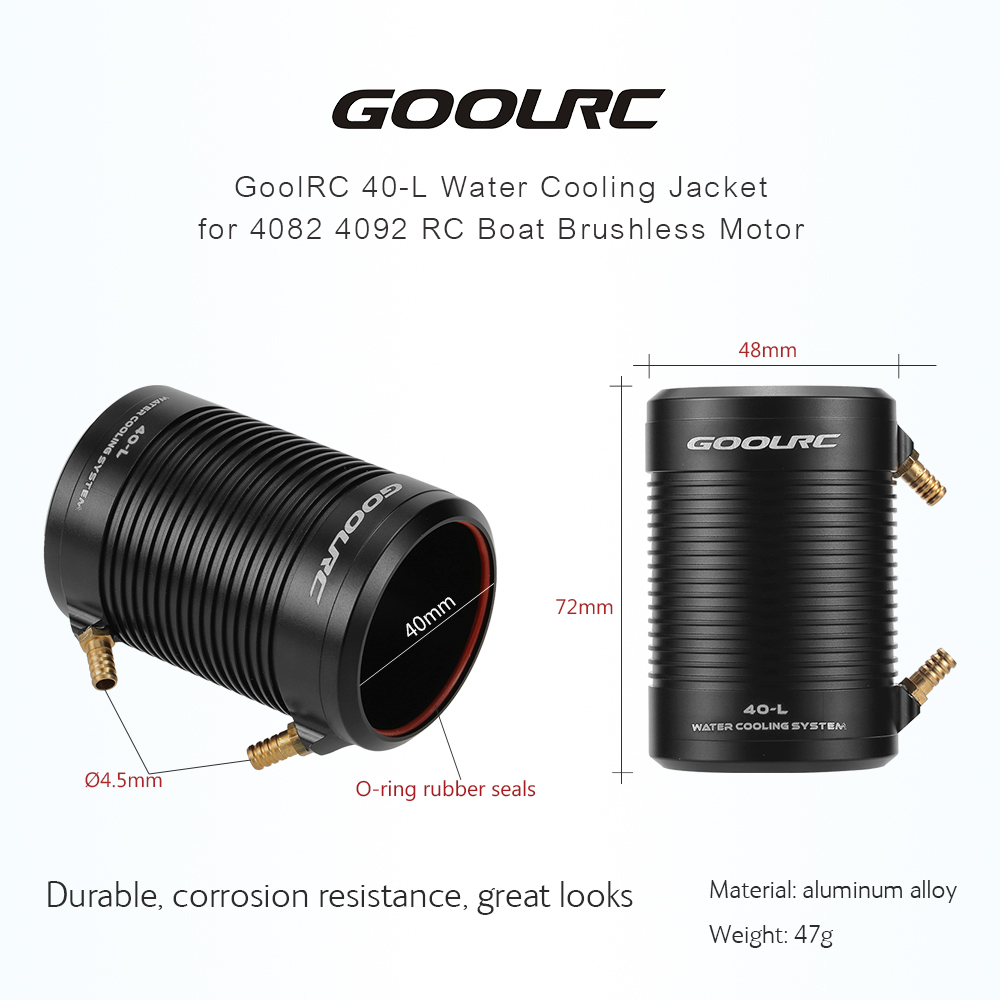Original GoolRC Aluminum 40-L Water Cooling Jacket Cover for 4082 4092 RC Boat Brushless Motor(China (Mainland))