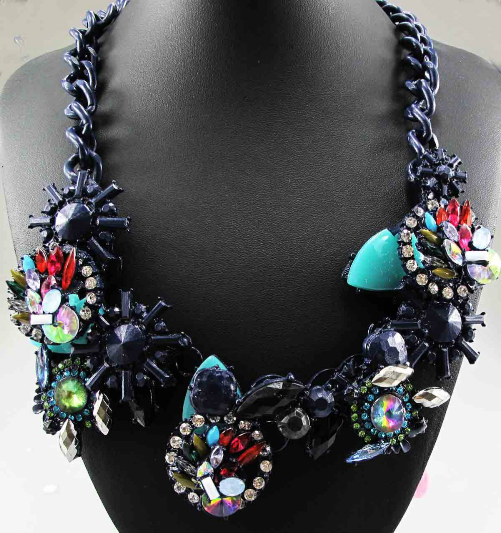 New Statement inspiration pendant Chunky Crystal Choker flower necklace free shipping q661(China (Mainland))