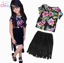 2015 New Girl Fashion Clothing Set Children Summer Casual Clothing Sets Girls Cotton Suit Sets 2015 New Child Clothing(China (Mainland))