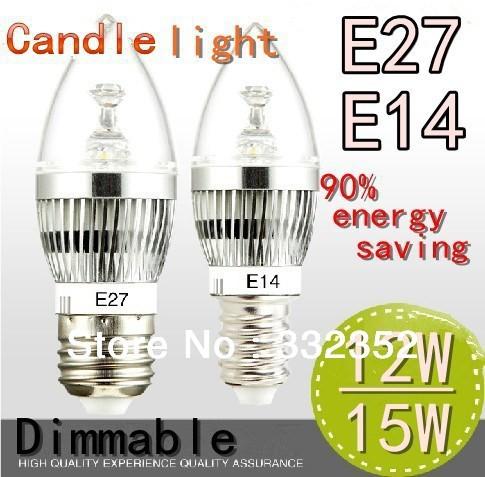 Free shipping High Power 2XE14 E27 4x3W 12W 5X3W 15W Dimmable AC85~265V LED Candel Light LED bulb lamp spotLight