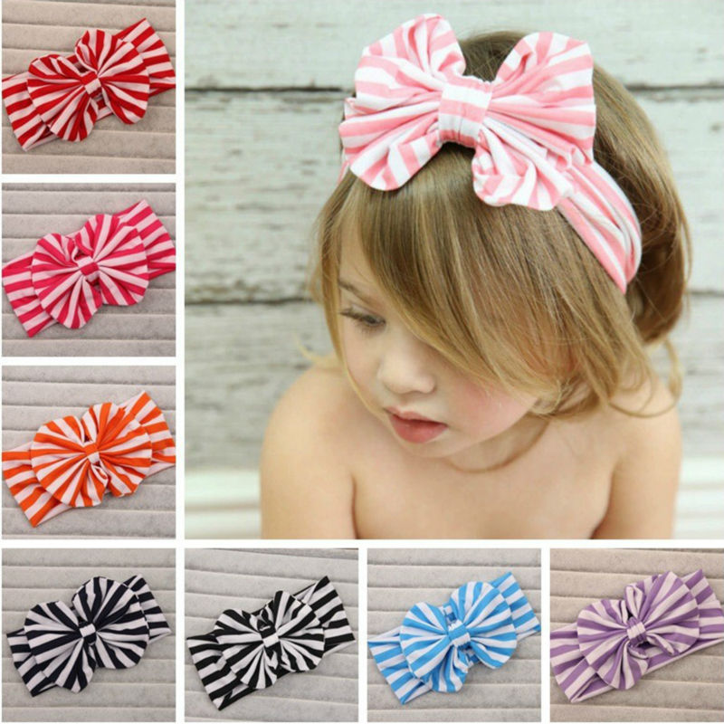 2016 New Cute Baby Headband Turban Head wrap Jersey Striped Knotted Cotton Bow Tie Soft Stretchy Baby Girl Headband Hair Band(China (Mainland))