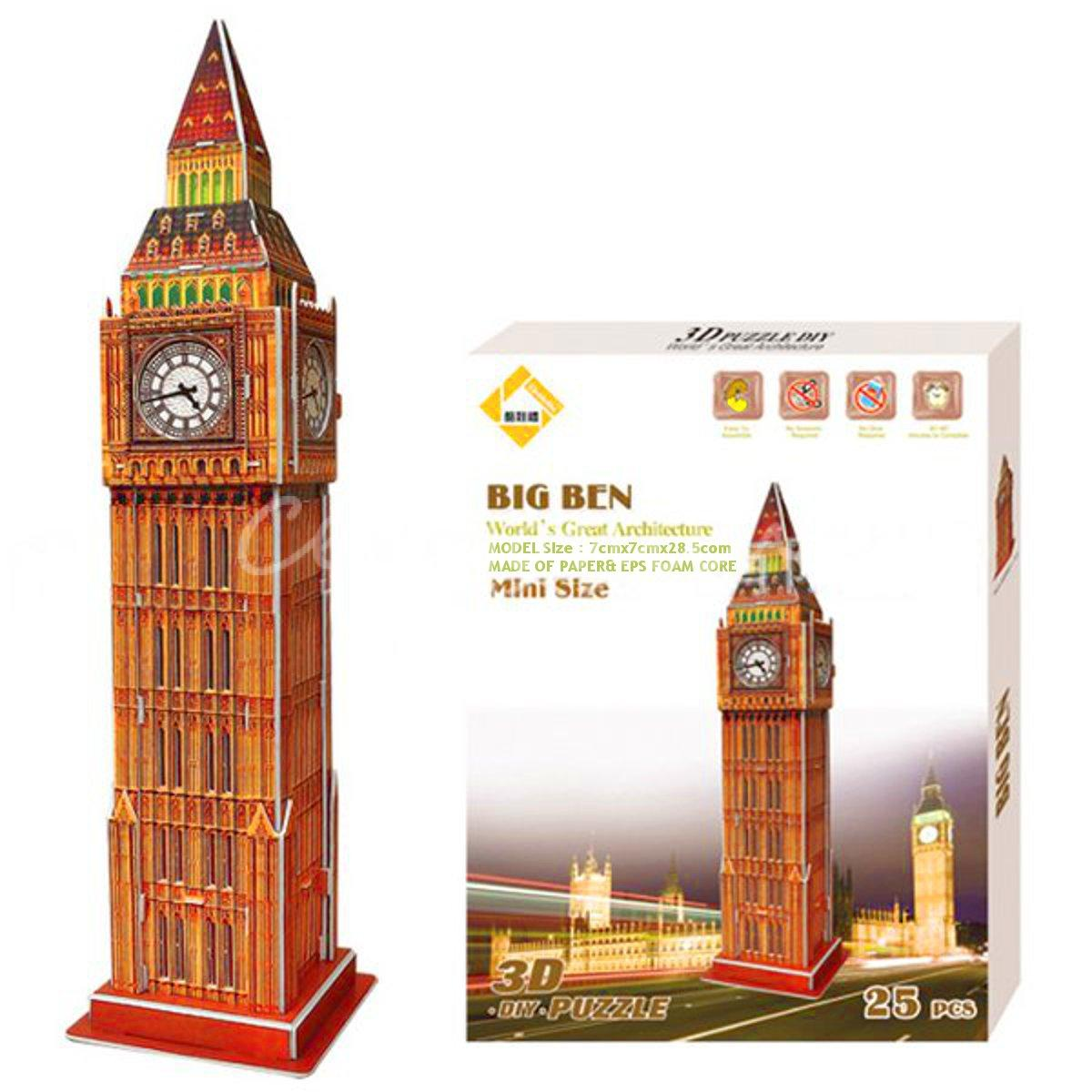 Best Promotion Colourful Carboard Jigsaw Model 3D Puzzle Big Ben Kids Christmas Gift Toy Intelligent Game Chrildren Birthday(China (Mainland))