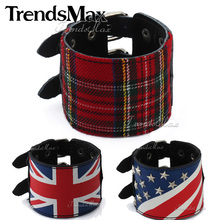 Leather Bracelet Punk Black UK/Britain US/American Scottish Tartan Plaid Wristband Studs Buckle Adjustable Mens Womens LBM11