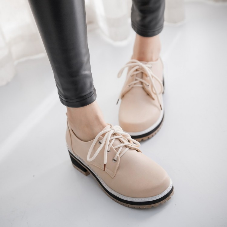 2016 Time-limited Creepers Fashion Plus Shoes Female Zapatos Mujer Vintage Round Toe Up Oxford Women School Flat Oxfords Sexem