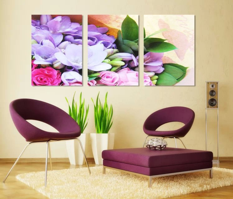 Color flower for sofa wall decor 3 panels living room - Panneau decoration murale ...