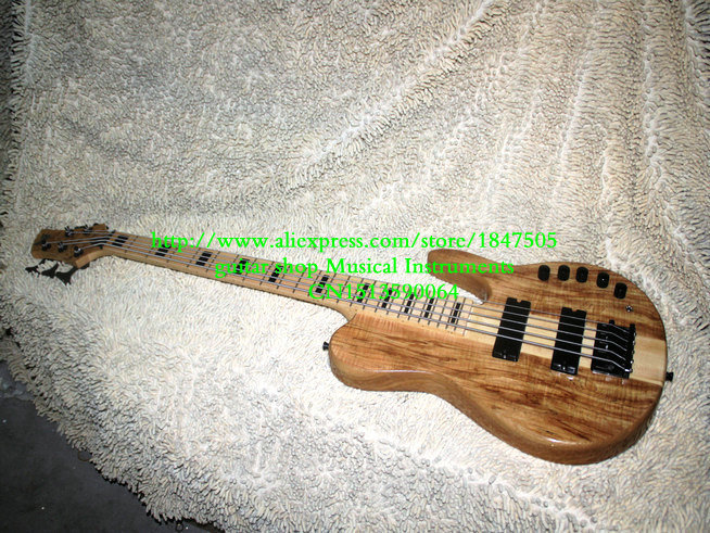 HOT SALE High Quality 5 strings Electric bass guitar Natural one piece body Free Shipping(China (Mainland))