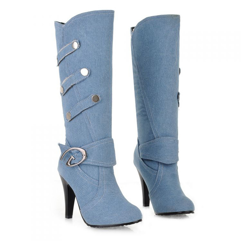 Plus Size 2015 New Sexy Denim Boots Cowboy Boots For Women Punk Fashion High Heel Boots Ladies Chaussure Femme Botte 45#D75(China (Mainland))