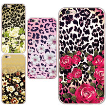 Luxury Beautiful Rose Daisy  Pattern Custom Design Case Cover For iphone 5 5s / 6 6s Soft  Leopard Back Plastic TPU Phone Shell