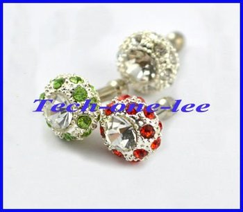 Free shipping 10pcs/lot Crystal Dustproof Diamond Headset Dust ear Cap Plug Bird's Nest Shape for Apple Iphone 4 4G 4S 3G 3GS