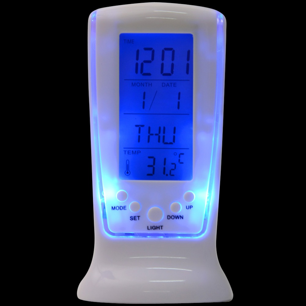 Modern Unique Phone Digital LCD Alarm Clock Calendar Thermometer Date Time Watch Service Night Light Alarm Clock T0697 P15 10(China (Mainland))
