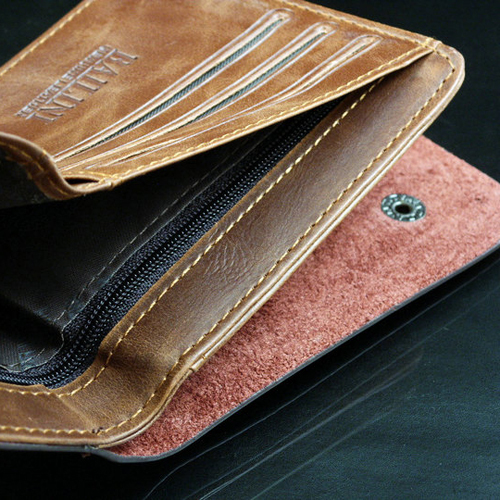 new men wallets fine bifold brown brand Retro style leather with pu wallet for men