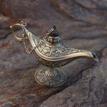Russia metal tin silver aladdin magic lamp tea pot genie lamp vintage retro souvenir home decoration aladin wishing lamp(China (Mainland))