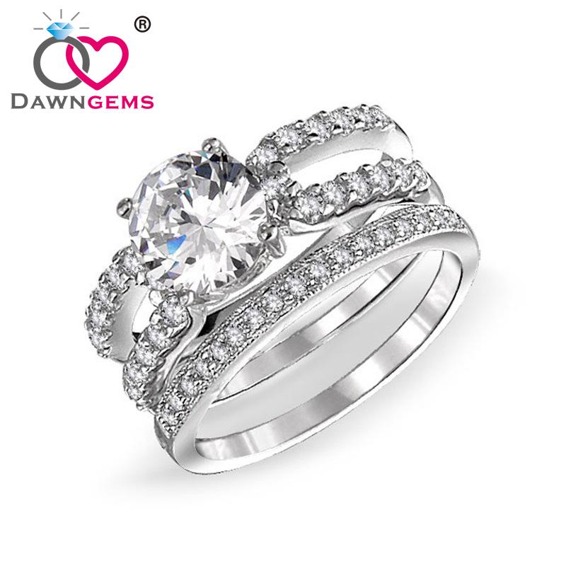 .com: Acheter Dawngems AAA zircon or blanc plaqué anneau de mariage ...