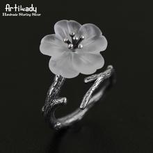 Artilady 925 серебряные кольца ручной ветка дизайн белый кольцо для женщин ну вечеринку подарок ювелирные изделия(China (Mainland))