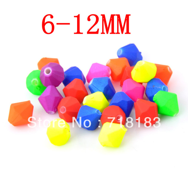 Wholesale Mixed Fluorescent Bicone Beads Colorful For Necklace & Bracelet Acrylic Ball Spacer Beads 6/8/10/12mm(W02904)(China (Mainland))
