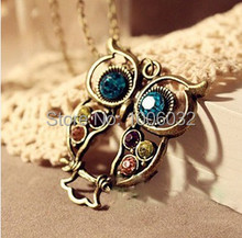 2015 Big Discount Hollow Out Beautiful Owl Women Necklace Long Copper Alloy Chain Vintage Owl Pendants