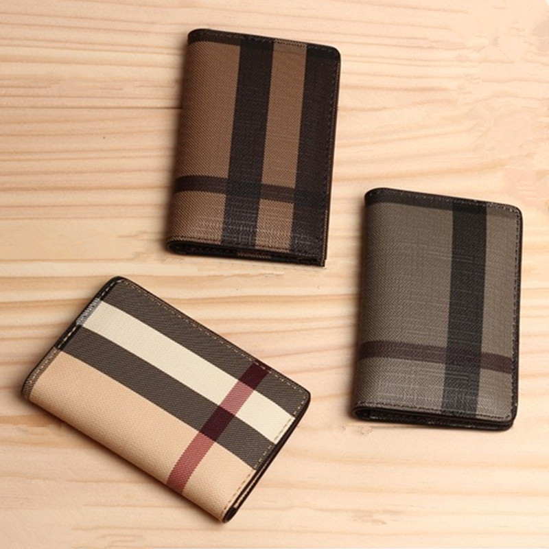 New 3 Colors New Brand Classic Plaid Design Card ID Holders High Quality Leather Pocket Bag For Mans/Womans Cheap Promotional(China (Mainland))