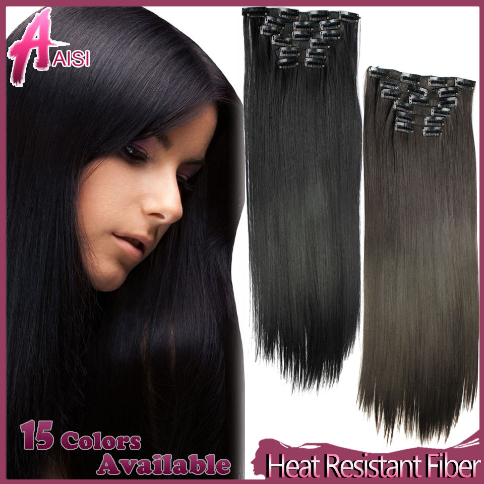 6pcs/set 23inch 150g 16 Clips in False Hair Styling Synthetic Straight Clip In Hair Extensions Heat Resistant Hair Pad Hairpiece(China (Mainland))