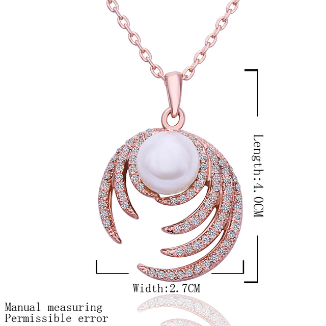 N525 18KGP Romantic Pearl Austria Crystal Jewelry 18K Gold Plated Necklace Nickel Free Rhinestone Crystal Pendant For Gift