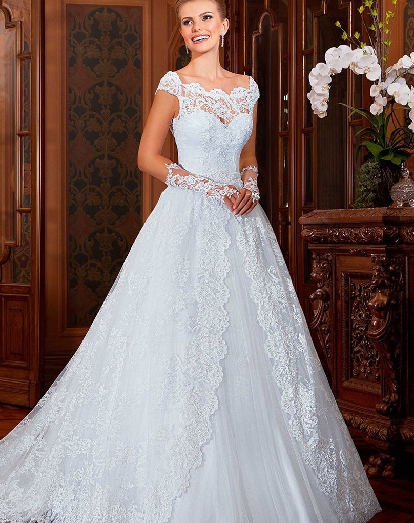 Western lace wedding dress - photo#11