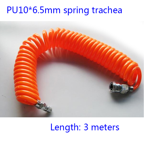 Free shipping 3M-Length-Pneumatic components PU6.5*10mm spring trachea and quick connector Pneumatic Plastic Coil Tube Pipe Hose(China (Mainland))