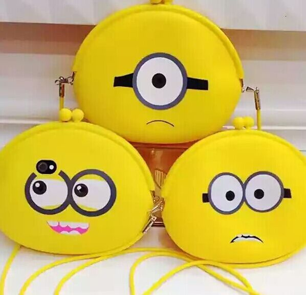 1X Random Face Yellow Minions - Silicone 19*17CM Lady Girl's Satchel BAG Shoulder BAG Pack ; Adult Shoulder Messenger BAG(China (Mainland))
