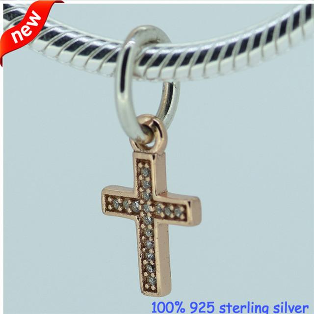 Символ вера крест шарм подвески Fit пандора браслеты и ожерелья аутентичные 925 серебряная роза позолоченный CZ проложить ювелирные изделия