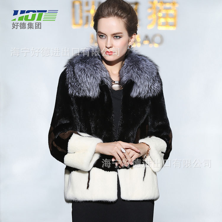 new import mink fur coat,lady fur trade discount winter mixed colors,free shipping(China (Mainland))