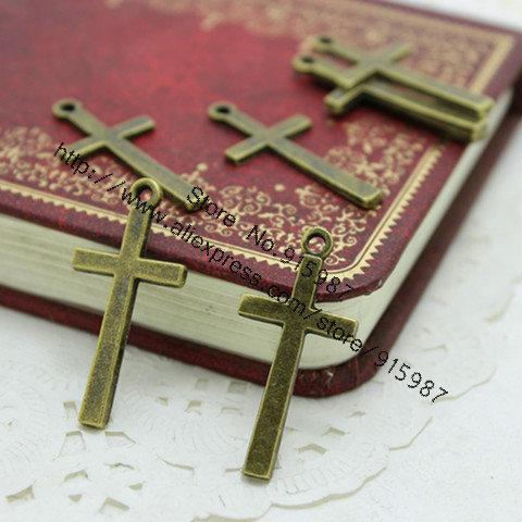 60pcs 14*30mm Vintage Bronze Cross Jewelry Charm Jewelry Findings Fit Jewelry Making Pendants D0348(China (Mainland))