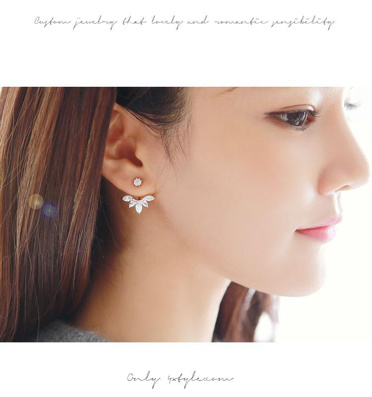 Crystal Flower Clip Earrings For Women High Quality Summer Style Ear Piercing Jewelry