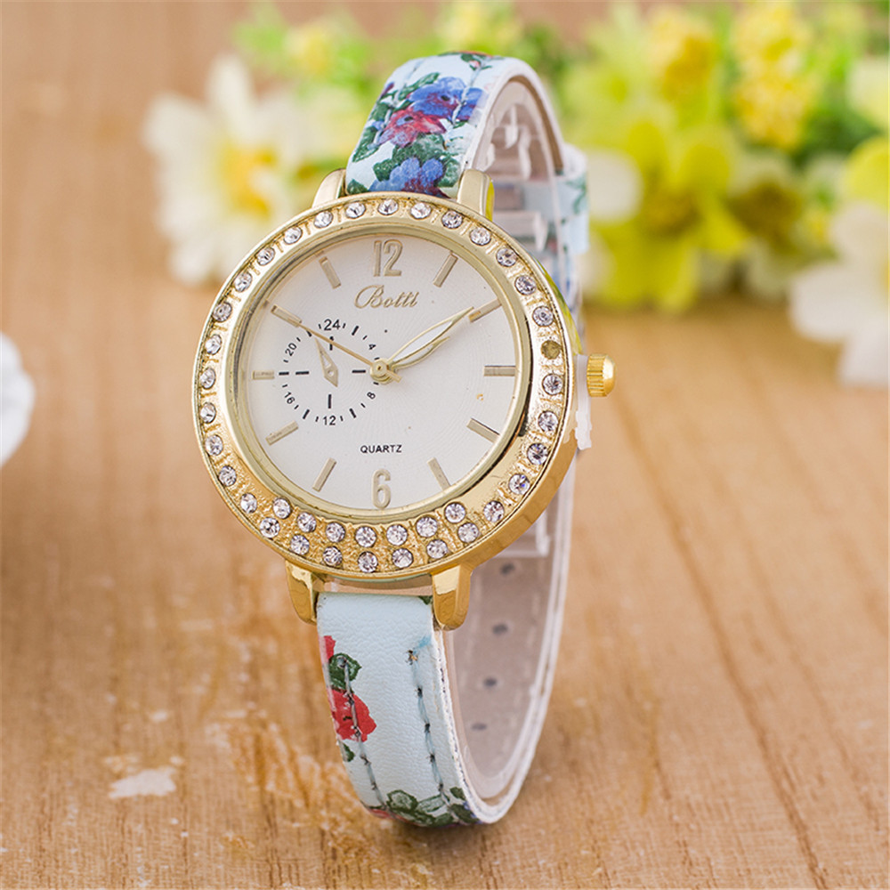 Newly Design Vintage flower Ladies Watch Women Korean style PU Leather Quartz Wrist Watches Dress sports watches Relojes Mujer(China (Mainland))