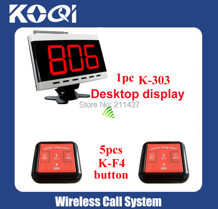 Coffee shop hospital 433.92mhz K-303 display with 5 pcs K-W4 100%waterproof buzzer wireless call bell system(China (Mainland))