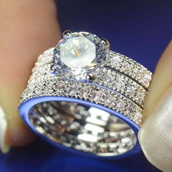 High End Bridal Wedding Rings Big Round Cubic Zirconia Diamond Ring Three Set