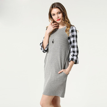 Fashion Plus size L to 5XL Women European Casual spring long sections loose wool plaid patchwork dress SN-1519#