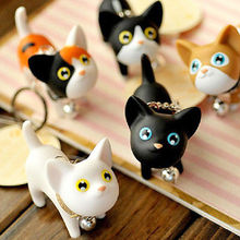 Brand New Cute Cat Kitten Keychains Keyrings HandBags Pendant Ornament Kid Toy(China (Mainland))