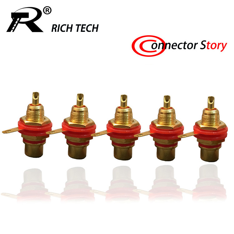 20PCS/LOT HIGH QUALITY GOLD-PLATED RCA CONNECTOR PANEL MOUNT CHASSIS AUDIO SOCKET PLUG BULKHEAD WITH NUT SOLDER CUP WHOLESALE(China (Mainland))