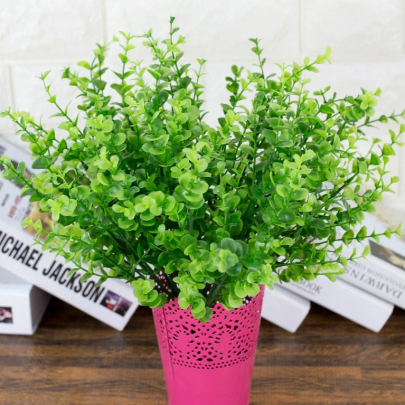 Home Decorate 7-fork Green Color Grass Artificial Plants For Plastic Flowers Household Store Dest Rustic Decoration Clover Plant(China (Mainland))