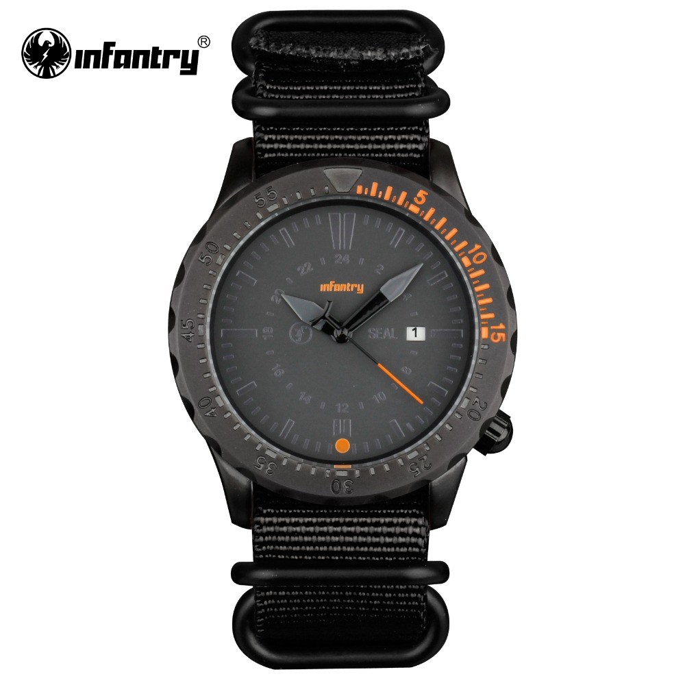 INFANTRY Mens Wristwatches Army Waterproof Officer Black Nylon Watchband Hot Sale Sports Brand Date Watches Men 2016 Relogio(Hong Kong)