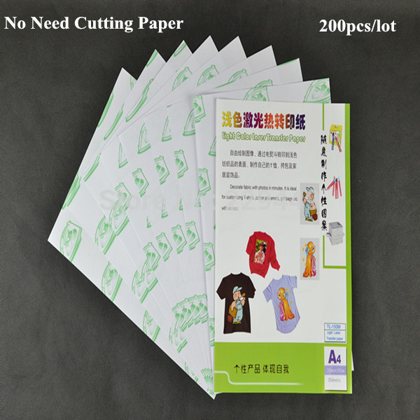 Promotion! No Need Cutting Laser Paper 200pcs*A4 Paper White Color Heat Transfer Paper Printing For T shirt Fabric(China (Mainland))