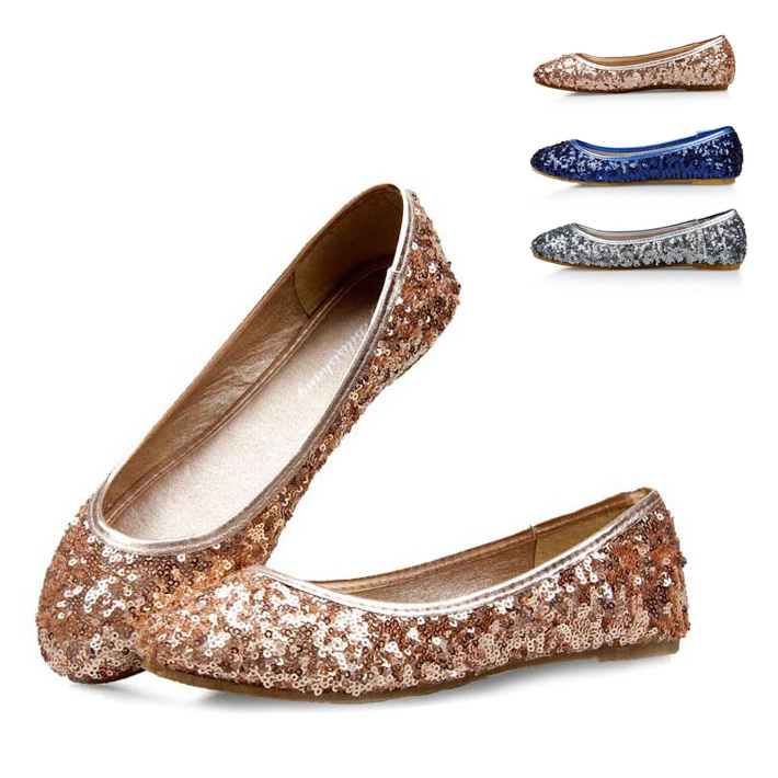 3 Colors Plus Size Glitter Women Flat Shoes Elegant Lady Girl Ballet Flats Pointed Toe Shining Loafers XWD999(China (Mainland))