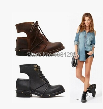 2014 summer/autumn boots women motorcycle style lace up boots black/brown top quality leather ankle boots!<br><br>Aliexpress