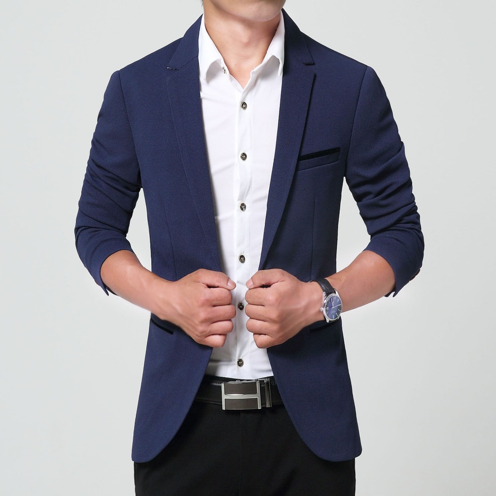 Terno Masculino 2015 New Arrival Blazer Men Autumn Casual Long Sleeve Plus Size Slim Fit Suit Jacket Navy Blue Black Khaki(China (Mainland))