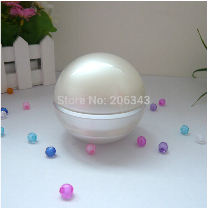 50Gpearl white acrylic ball shape cream bottle,cosmetic container,,cream jar,Cosmetic Jar,Cosmetic Packaging<br><br>Aliexpress