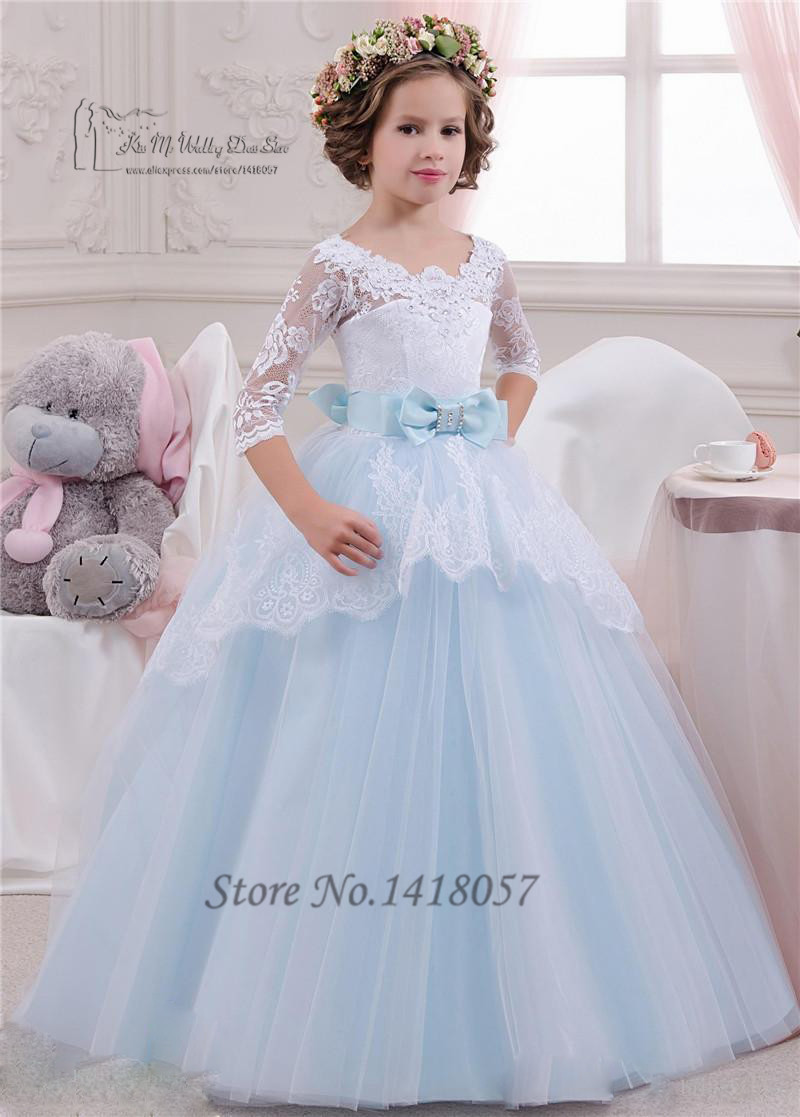 Lace holy communion dresses 2016 pageant ball gowns for for Dresses for wedding for kids