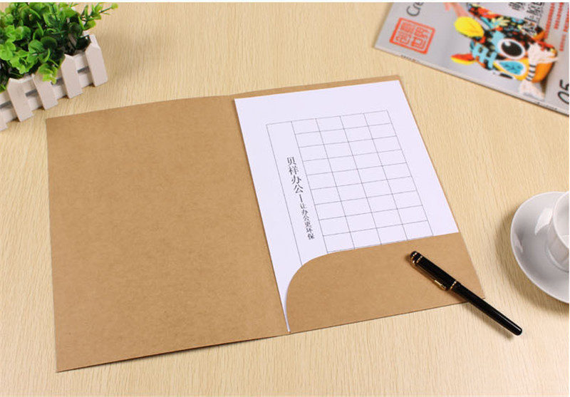 200 pcs a4 paper file folder with pocket white kraft and black colors to chose Size 22*31cm<br><br>Aliexpress