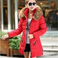 The new winter jacket women 2015 women's fur collar Eiderdown cotton jackets color matching down jacket coat