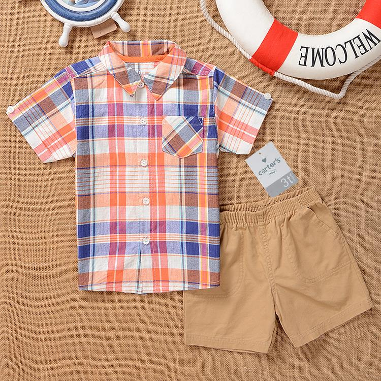 2015 boys summer clothing carter's Cotton short-sleeved plaid shirt & Trouser Sets two-piece 2-5 years roupas infantis menino(China (Mainland))
