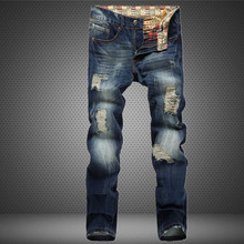 2016 New arrive famous Brand clothing Mens Jeans  homme Fashion Ripped Jeans For Men Designer Robin Jeans gym men's jean warm