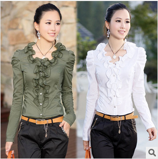 Free shipping 2013 new arrival autumn women's fashion elegant slim all-match ruffle collar bubble long-sleeve shirt  0241501193