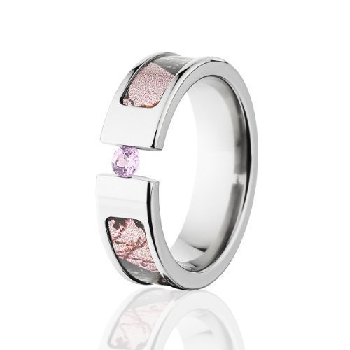 Best Seller 5mm Titanium AAA CZ stone inlaid Pink Realtree AP Pink Camo Engagement Ring Camo wedding band(China (Mainland))